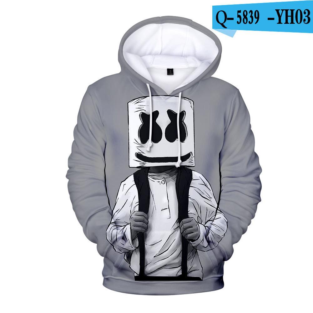 Men Women DJ Marshmello Fans 3D Print Small Logo Long Sleeve Sport Hoodies Sweatshirt J style_L