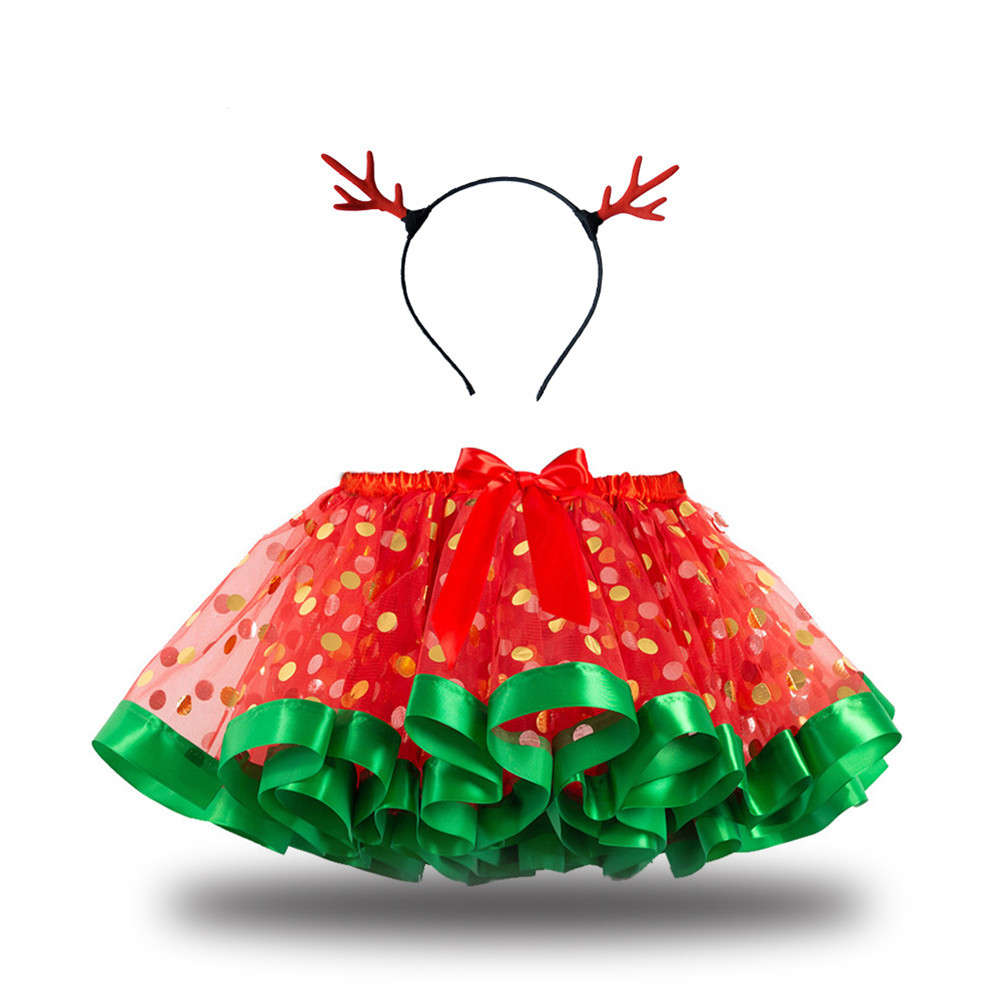Children's Skirt Christmas Mesh Skirt + Headdress for 2-8 Years Old Kids RT106_M