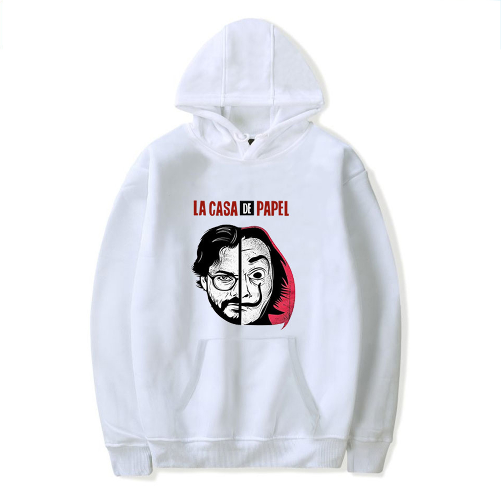 Long Sleeves Hoodie Loose Sweater Pullover with Unique Pattern Decor for Man and Woman White E_3XL