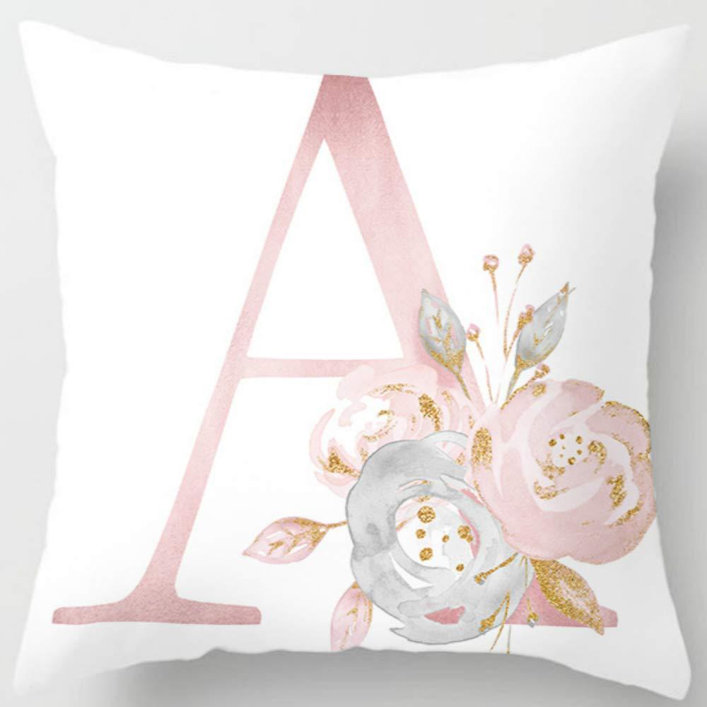 English Alphabet Cushion Cover Pink Flower Printed Pillow Cover for Sofa Home Livingroom Kid Room Car Decoration Pillowcase
