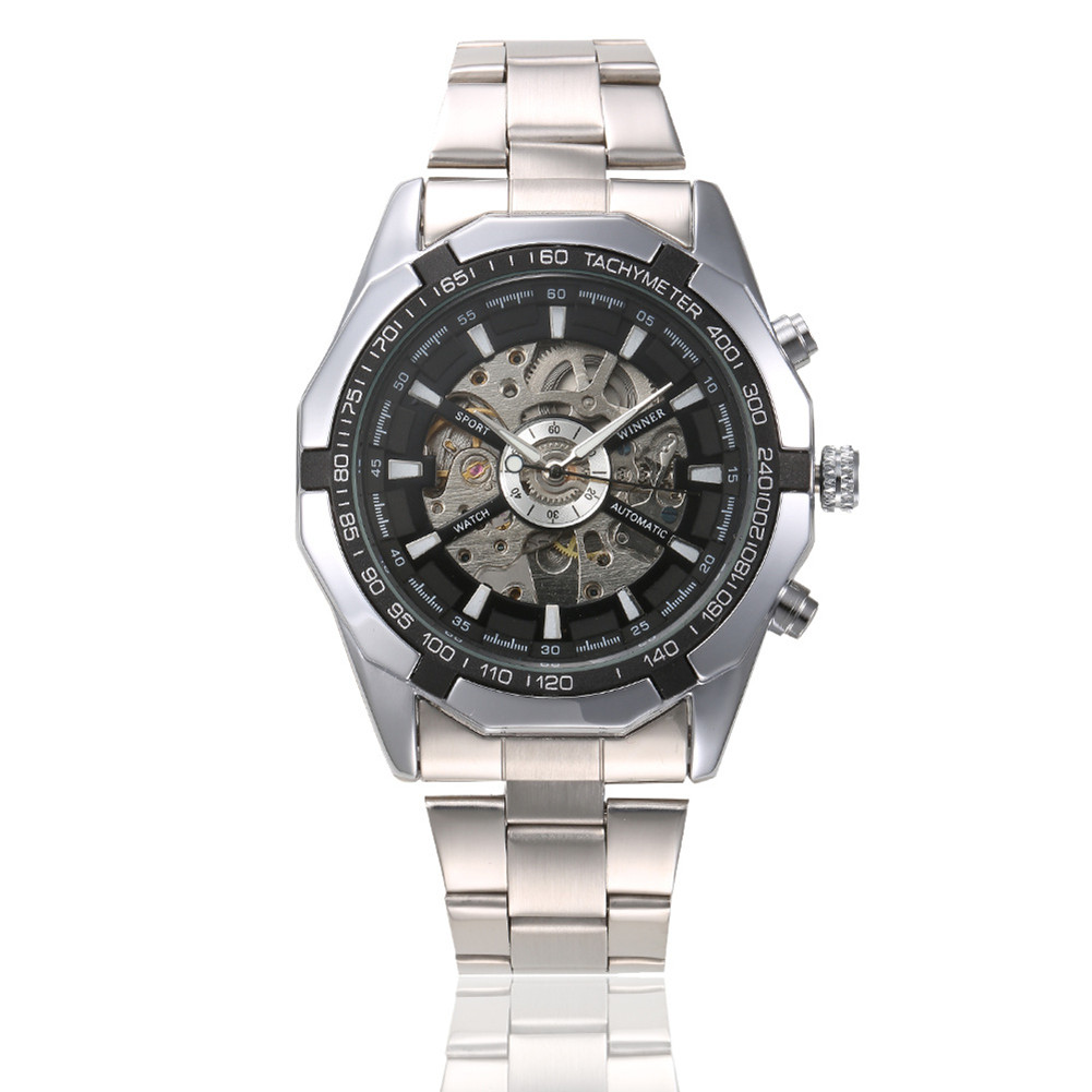 Cool watches For Men Skeleton Mens Black Automatic Mechanical Sport Wrist Watch Stainless Steel Band black
