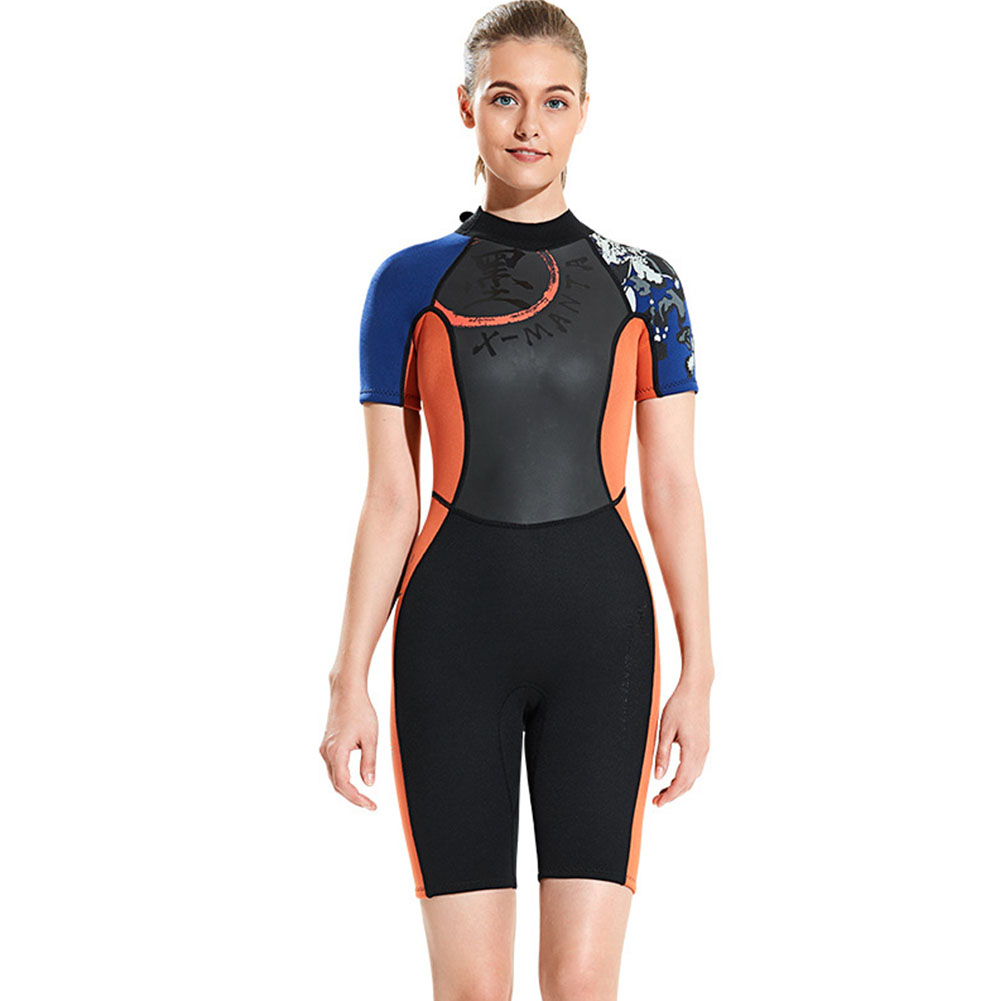 Diving Suit 3MM Siamese Short Sleeve Diving Clothes Thicken Warm Diving Surfing Jellyfish Swimwear Female orange_M