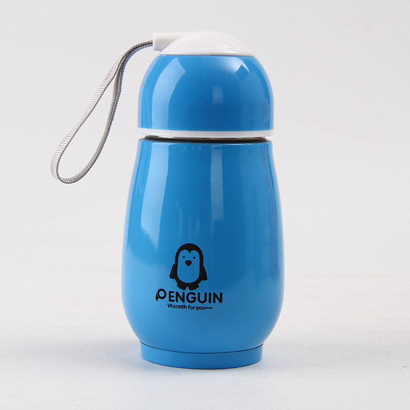 [EU Direct] Portable 300ml Stainless Steel Thermos Vacuum Flasks Kids Cartoon Penguin Thermal Insulation Water Bottle Children Travel Vacuum Cup Blue
