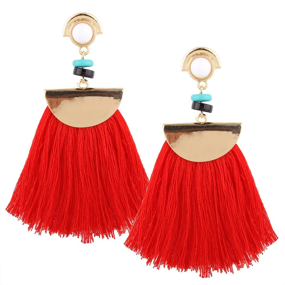 [EU Direct] Exaggerate Women Ethnic Vintage Earrings Long Fringe Earrings Handmade Chinese Jewelry Tassel Earrings E0196 Red