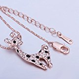 [EU Direct] MR.TIE 18K Rose-Gold Plated Cute Animal Pendant Neck Chain Necklace Valentine`s Day Gift