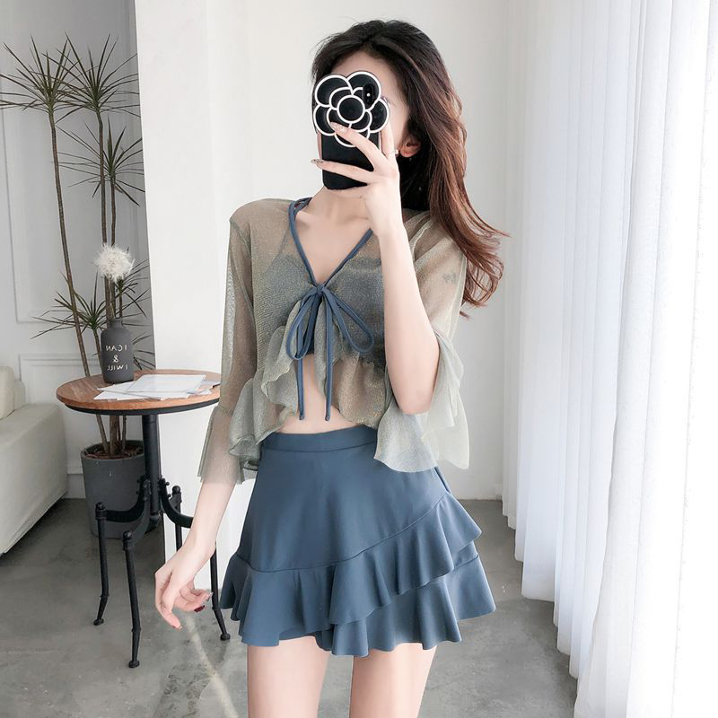 3 Pcs/set Women Swimsuit Sexy Slimming Solid Color Bikini Top+ Skirt + Overall Gray blue_Int:M