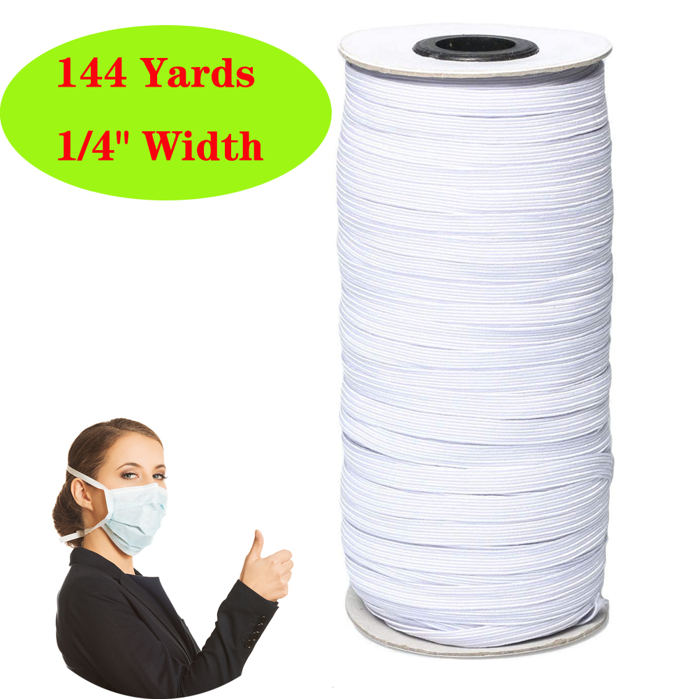 144Yards 6mm Braided Elastic Cord High Strength Band Elastic Rope Stretch Knit Elastic Spool