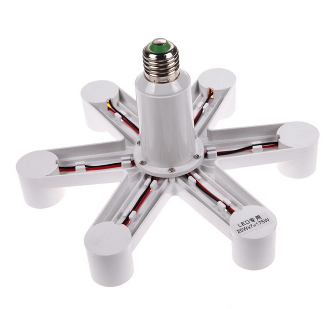 [EU Direct] E27 to 7 x E27 Bulb Base Adapter Heat Resistence Screw Mouth Socket