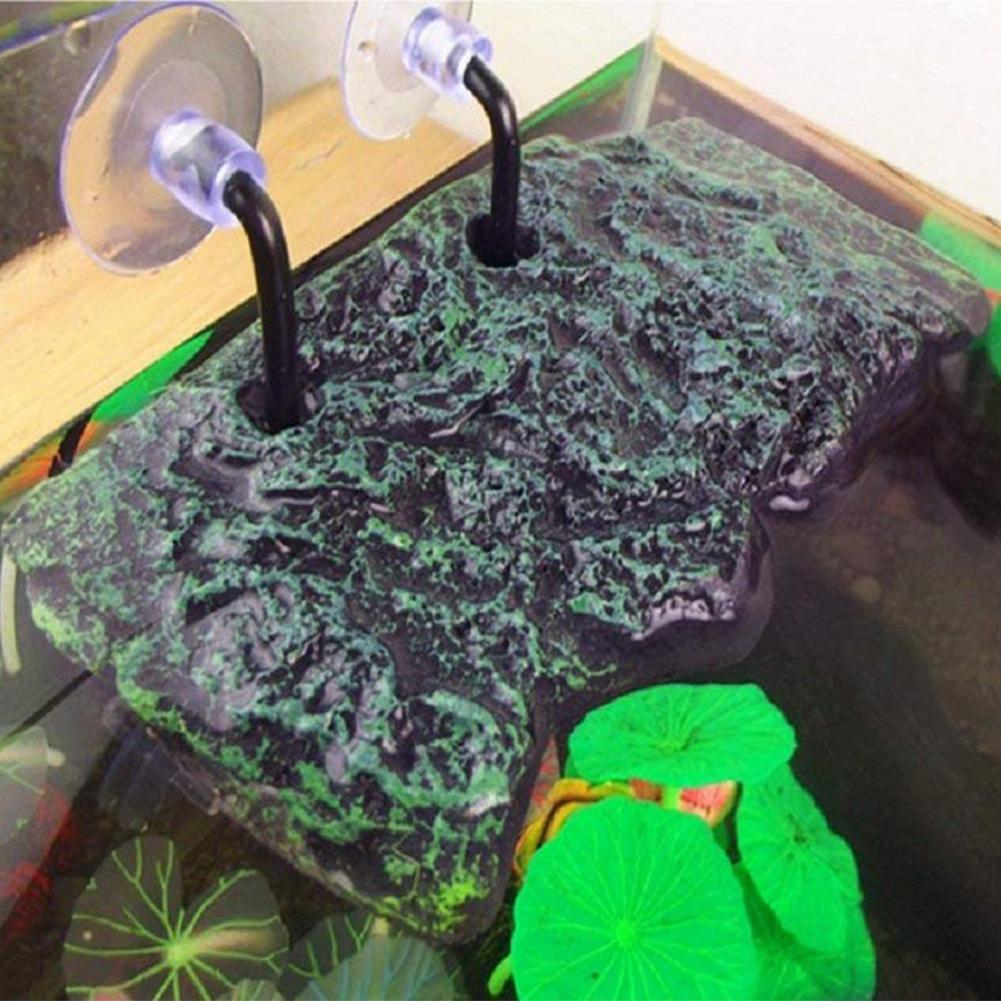 Turtle Bask Platform with Sucking Disk Rectangular Basking Platform Aquarium Terrarium Decoration  As shown