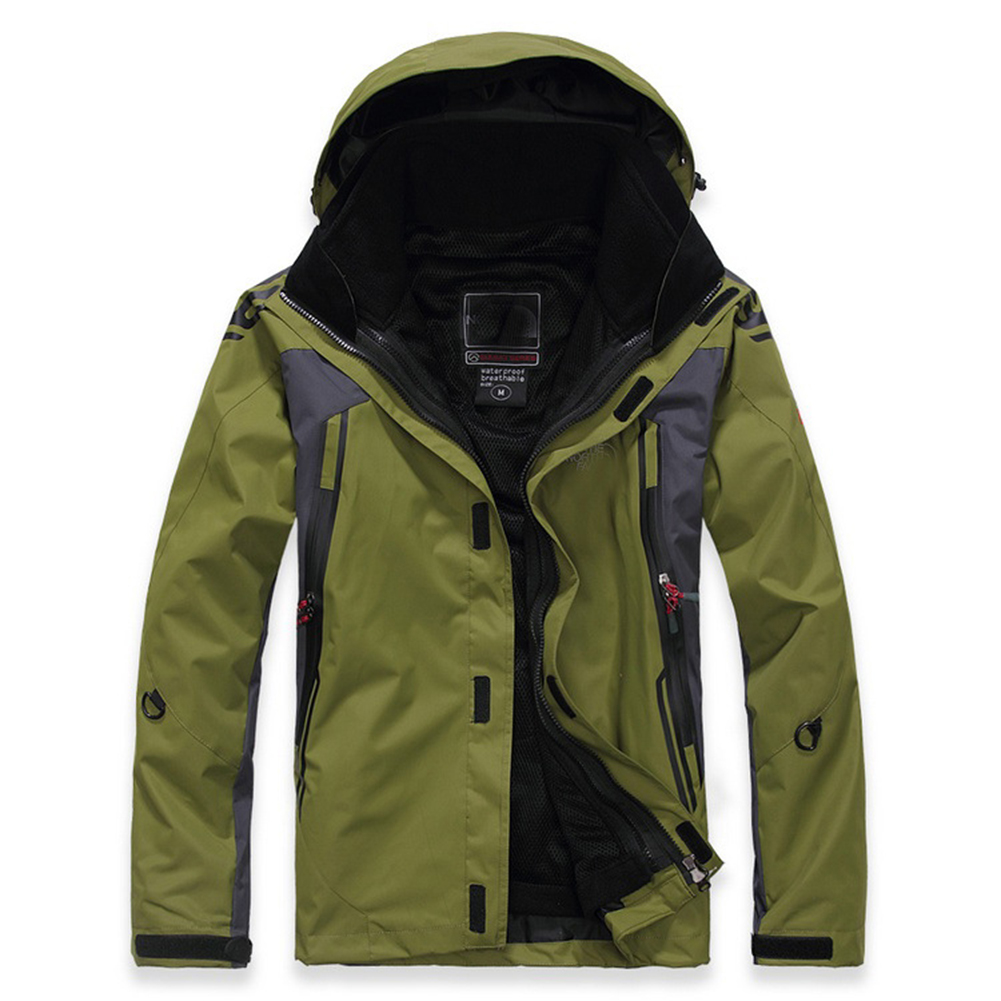 Winter Waterproof Softshell Men Jacket Outdoor Sport Waterproof Windproof Warm Inner Fleece Coat Army Green_L