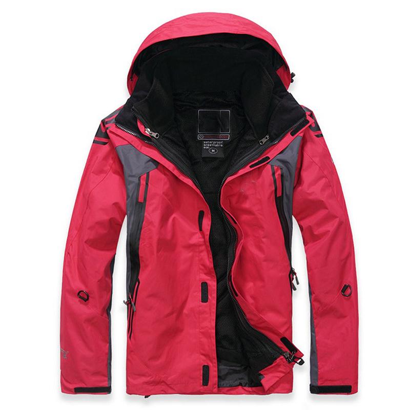 Winter Waterproof Softshell Men Jacket Outdoor Sport Waterproof Windproof Warm Inner Fleece Coat Red_XL