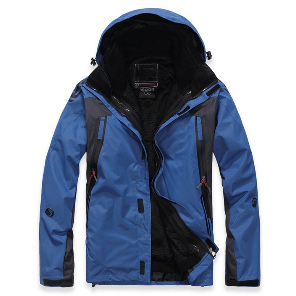Winter Waterproof Softshell Men Jacket Outdoor Sport Waterproof Windproof Warm Inner Fleece Coat Royal blue_M