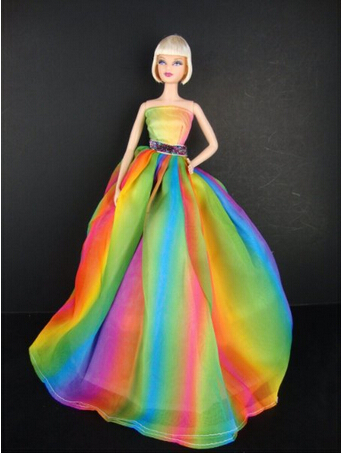 A Stunning Rainbow Inspired Doll Gown doll Sized Doll