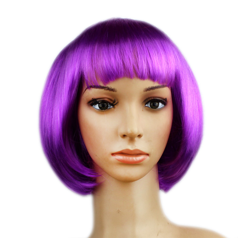Colorful Neat Bang BOBO Hairstyle Wig for Masquerade Dress up Headdress Wear Decoration
