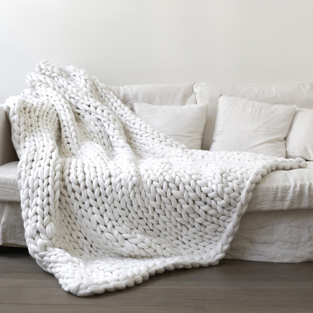 Acrylic Thick Yarn Hand Knitted Blanket Photography Props Christmas Birthday Gift Vacuum Packaging white_100 * 120cm