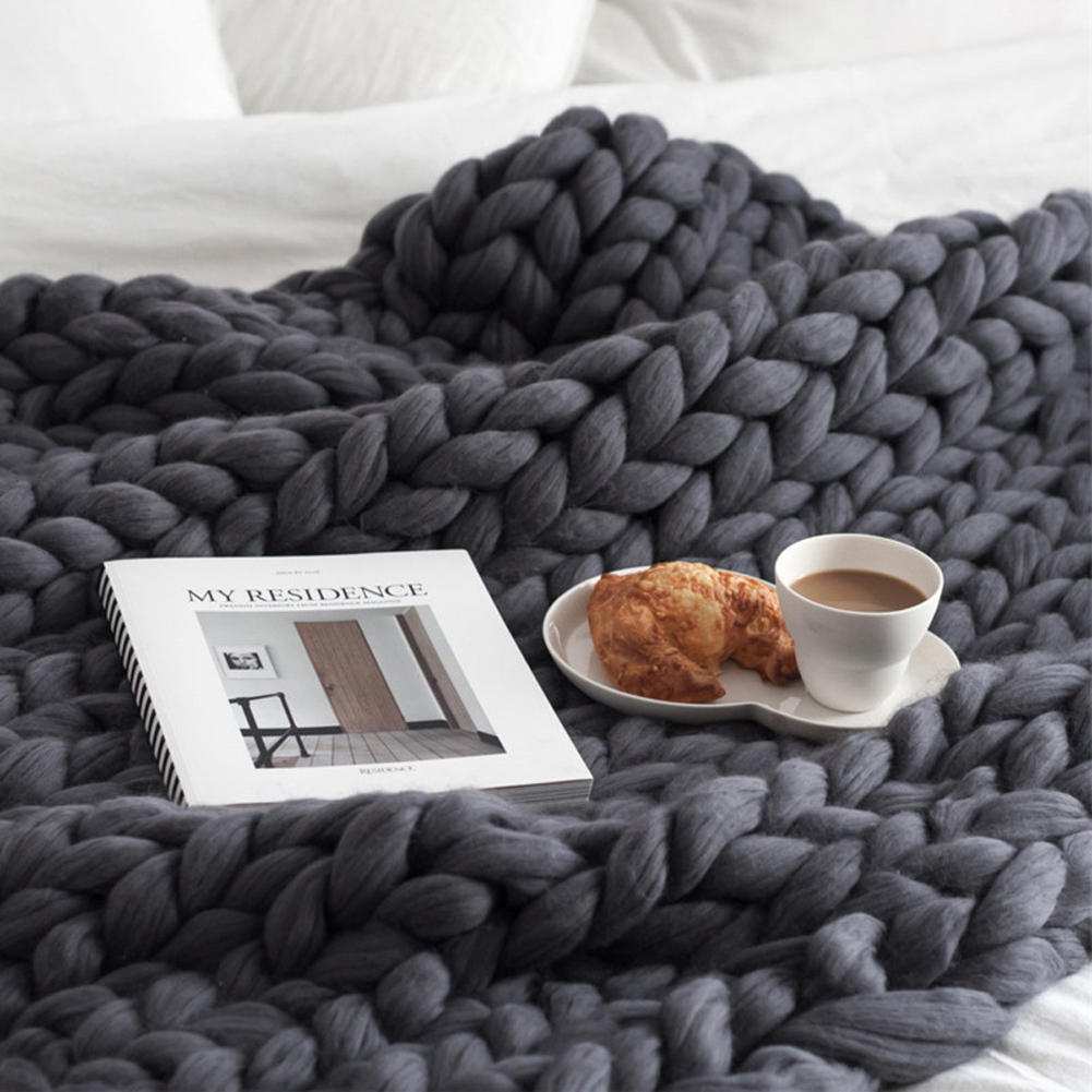 Acrylic Thick Yarn Hand Knitted Blanket Photography Props Christmas Birthday Gift Vacuum Packaging Dark gray_100 * 120cm