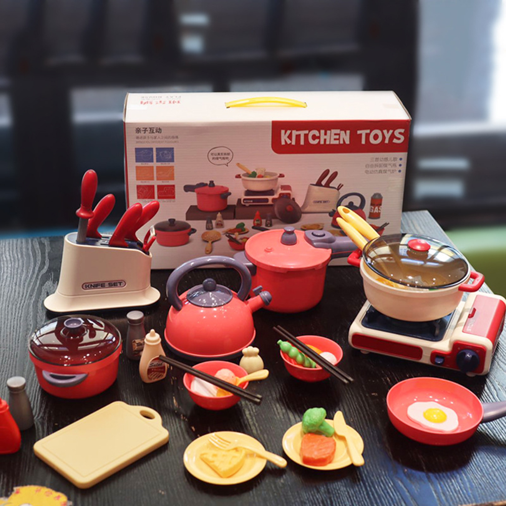 Intelligent Electric Kitchen Toys Children Play House Simulation Cooking Educational Toys Gifts red
