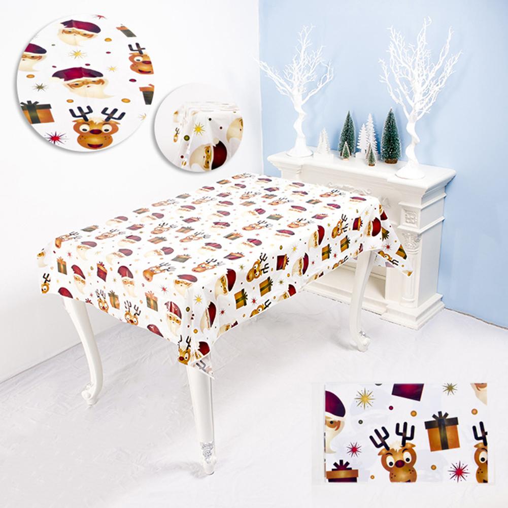 Disposable Christmas Series Rectangular Printed PVC Cartoon Tablecloth 110*180cm  C Santa & reindeer
