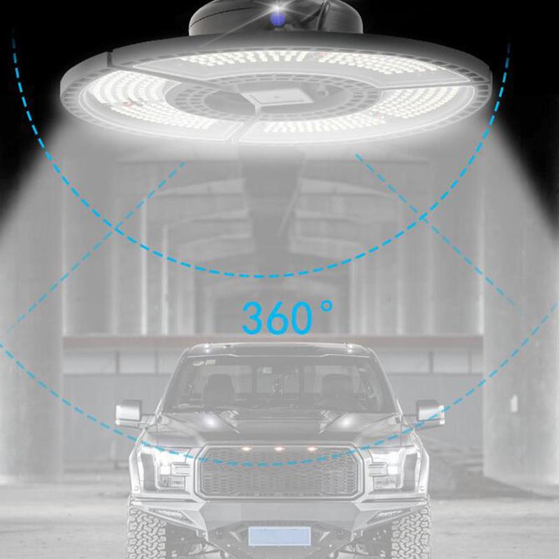 Led Deformable Lamp 60W/80W/100W/120W Round Shape Garage Light Warehouse Lighting No Induction warm light_Garage light B, wide pressure 80W