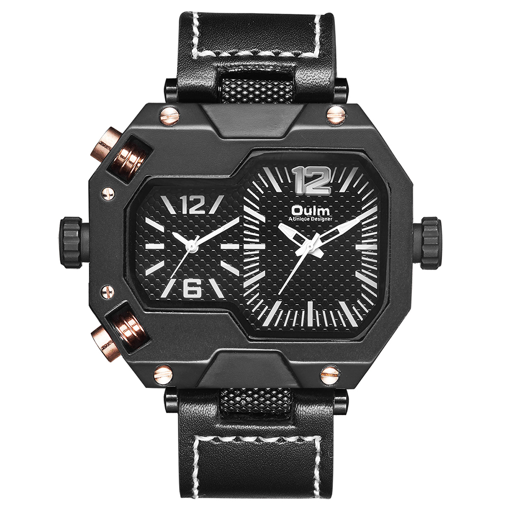 Oulm HP3878 Stylish Men Quartz Watch Black