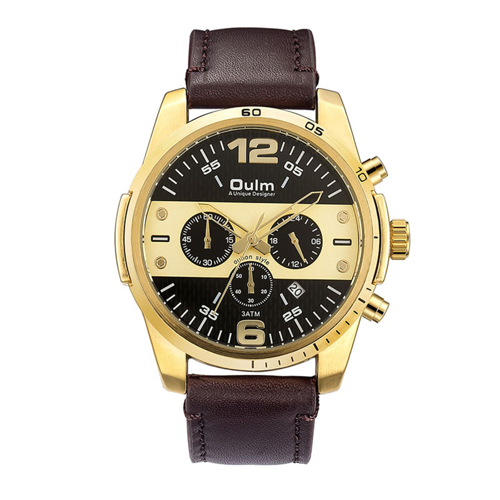 OULM Men Calendar Quartz Sports Watch Gold