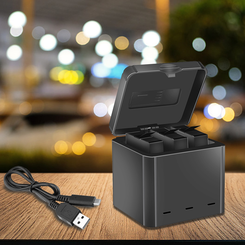 for Insta360 One X Sports Camera Charging Box Type-C Interface Three Lithium Battery Charger Multi-Functional Portable Travel Storage   gray