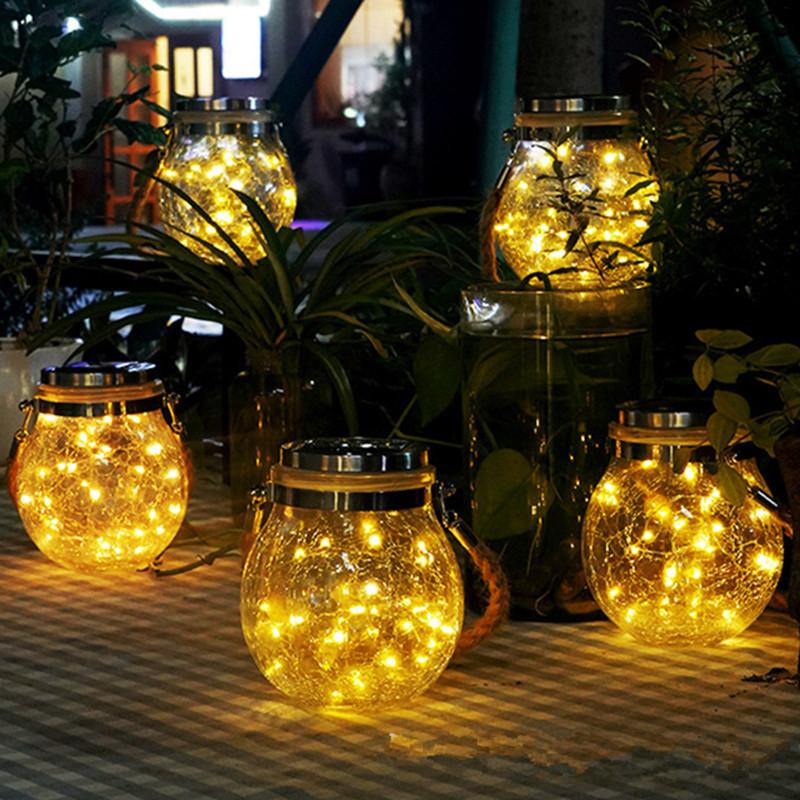 Led Solar Glass Light Fairy Crack Bottle Light Led String Solar Lamp Garden Outdoors Light Warm White