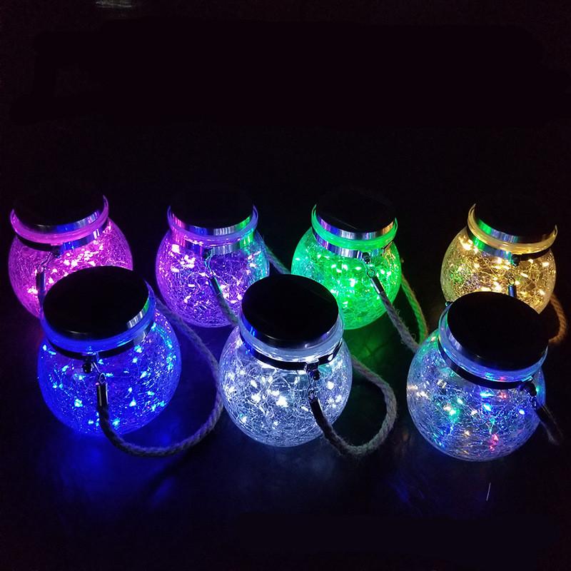 Led Solar Glass Light Fairy Crack Bottle Light Led String Solar Lamp Garden Outdoors Light color