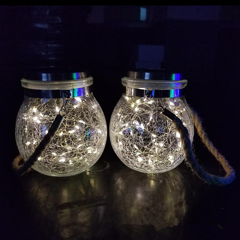 Led Solar Glass Light Fairy Crack Bottle Light Led String Solar Lamp Garden Outdoors Light White