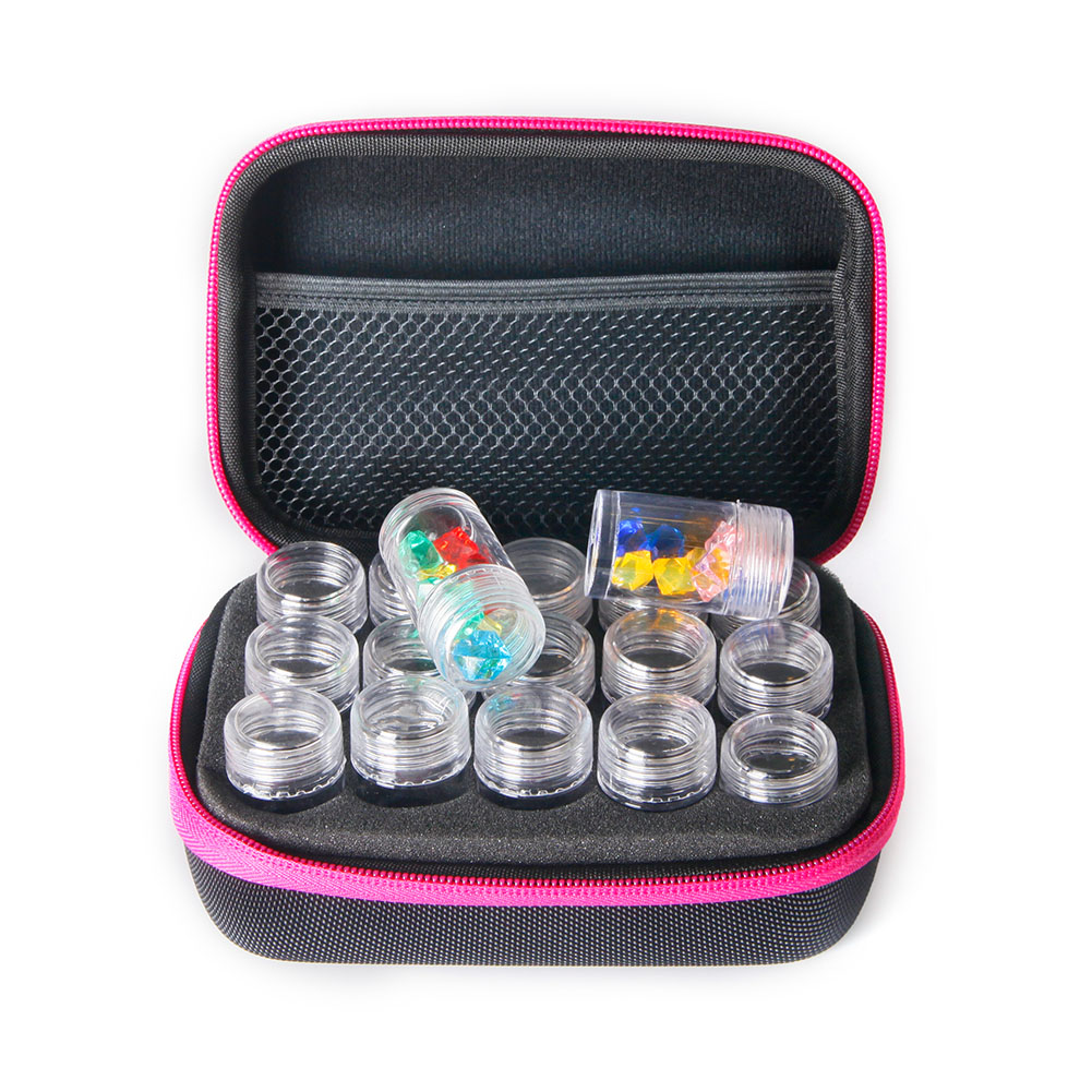 Slots Diamond Embroidery Zipper Storage Box with Transparent Beads Display Bottles