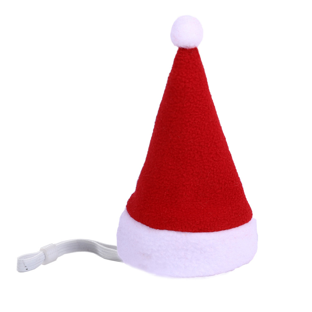 Pet Christmas Hat Velvet Festival Headdress for Cats and Dogs red_free size
