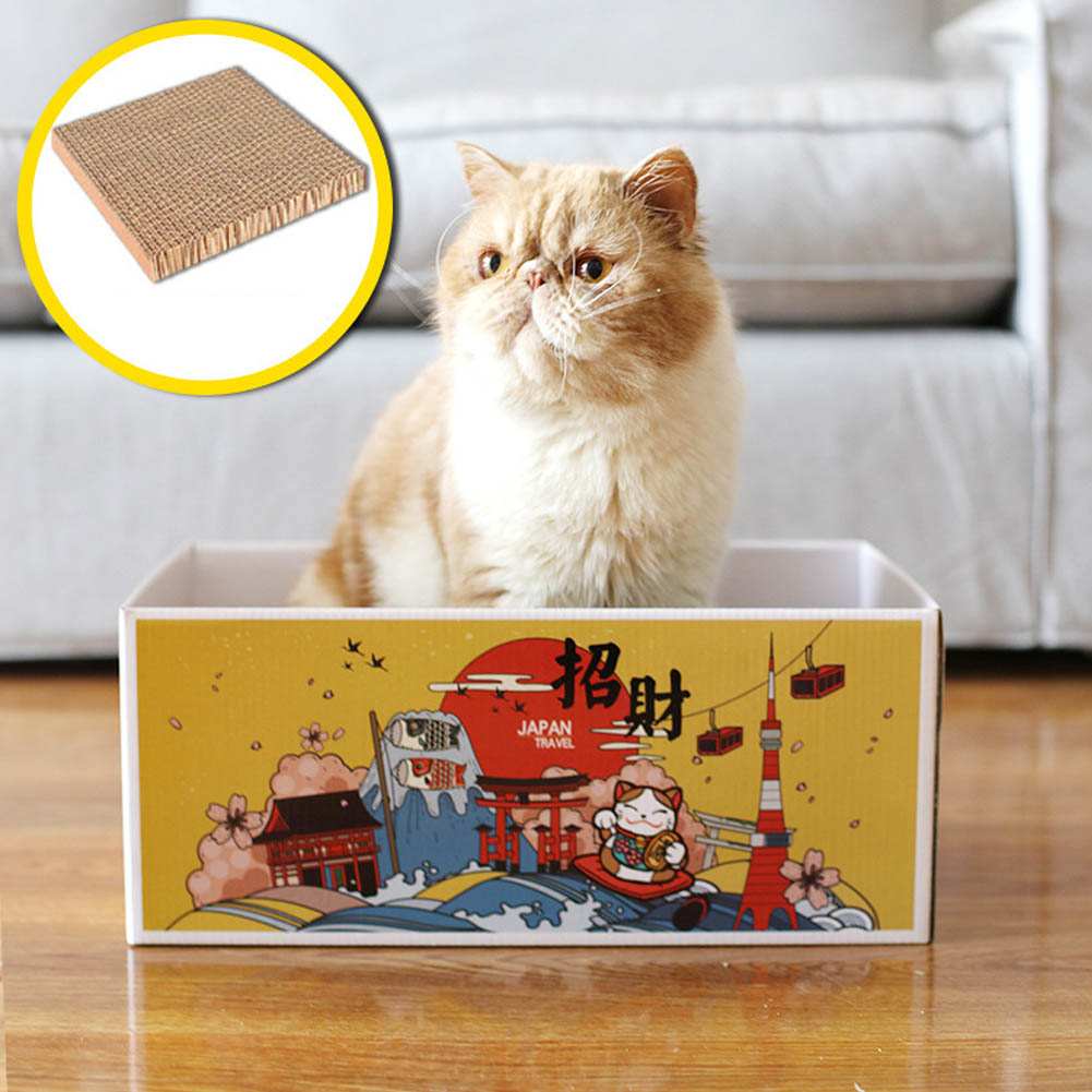 Cat Scratcher Cardboard Corrugated Paper Box Pet Scratch Pad Hone Claws Toy Supplies for Kitty to Rest and Play Random color