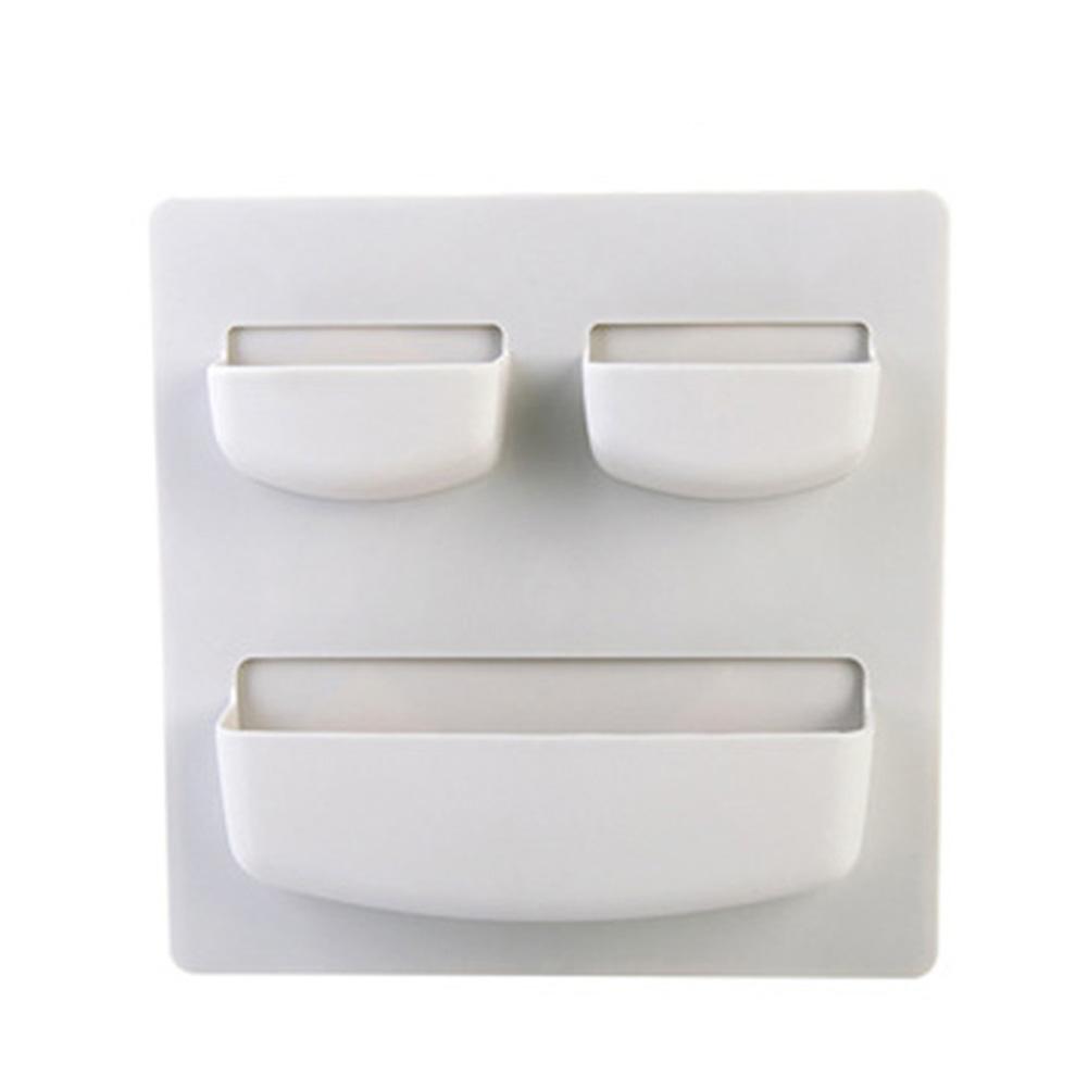 Household Paste Type Punch-free Wall Hanging Storage Rack  horizontal light gray_21.5 * 21.5cm