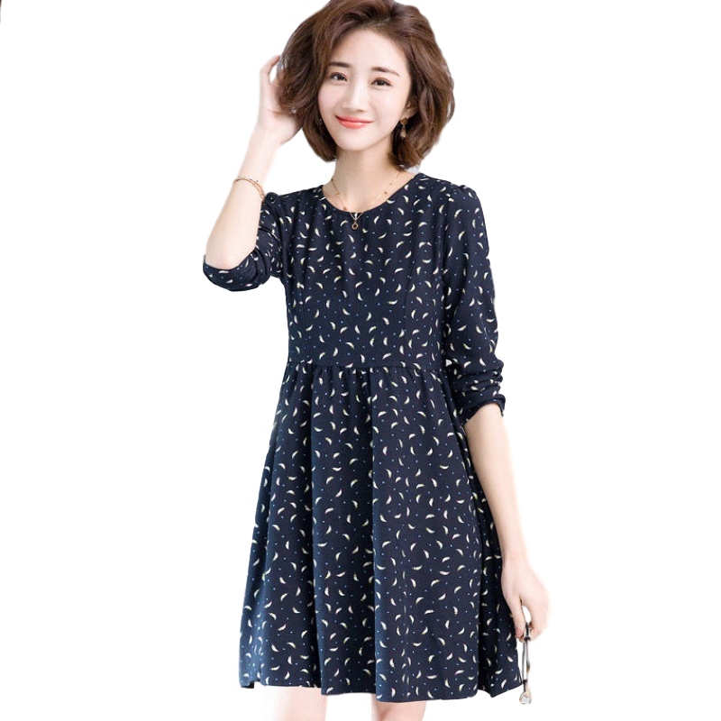 Women's Leisure Dress Autumn Loose Round Neck Long-sleeved Printing Mid-length Dress black_L