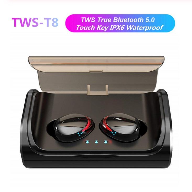 TWS T8 Bluetooth 5.0 True Wireless Earphones In-Ear Earbuds Deep Bass Stereo IPX6 Waterproof Sports Headset black