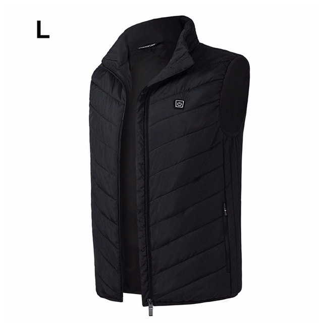 Outdoor Men Electric Heated Vest USB Winter Thermal Cloth Feather Camping Hiking Hunting Jacket black_L