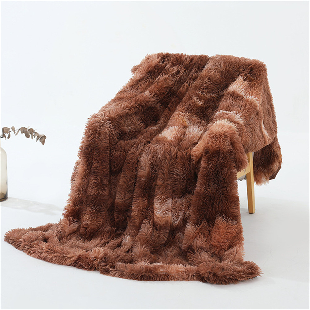 Double Layer Throw Blanket Long Hair Plush Decorative Tie-dye Blankets for Couch Sofa Bed Tie-dye brown