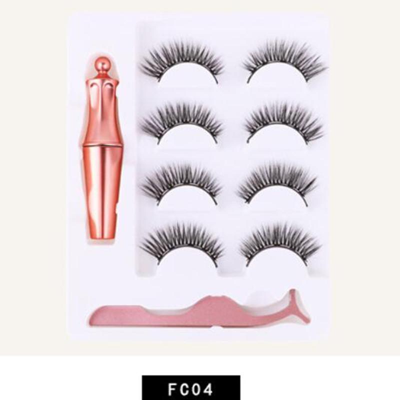 4 Pairs Magnet Eyelash Magnetic Liquid Eyeliner False Eyelashes Waterproof Long Lasting Eyelash Extension FC04