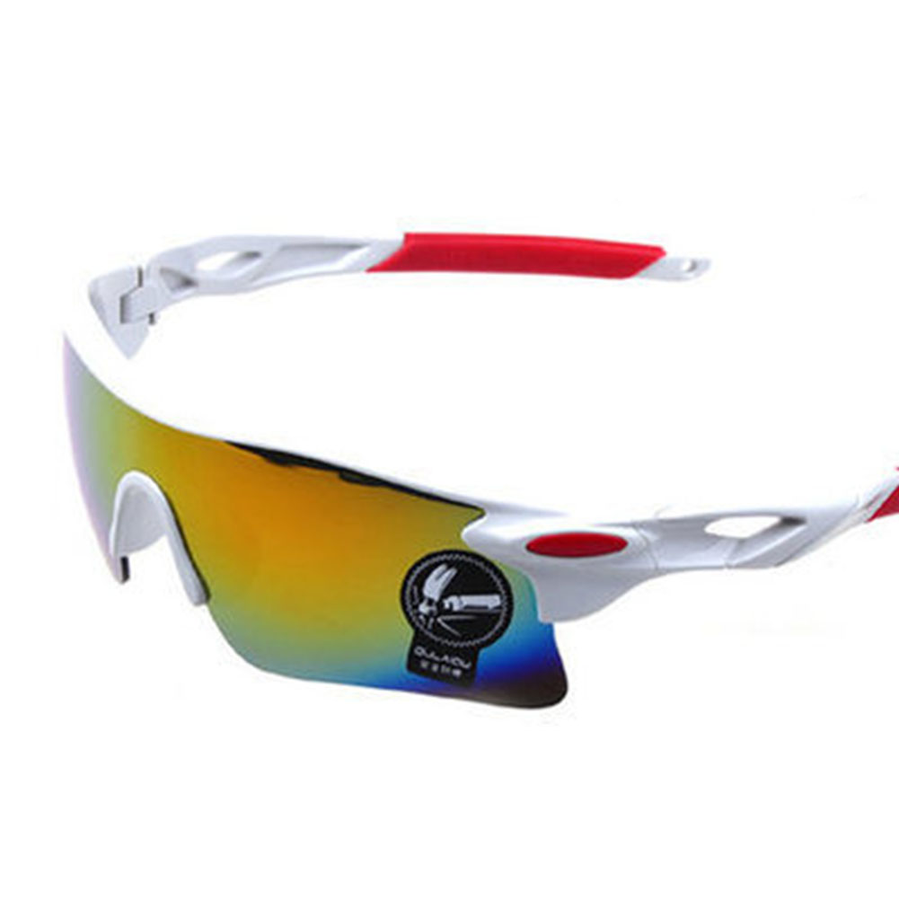 Cycling Glasses Sports Sunglasses Motorcycle Bike Bicycle Riding Goggles with Wind UV 400 Protection for Men and Women Real white (red mercury)