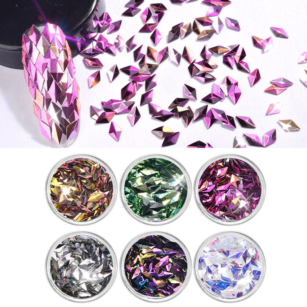 6 Colors/set Nail Sequins 3D Diamond Colorful Glitter Sparkle Manicure Nail Accessory
