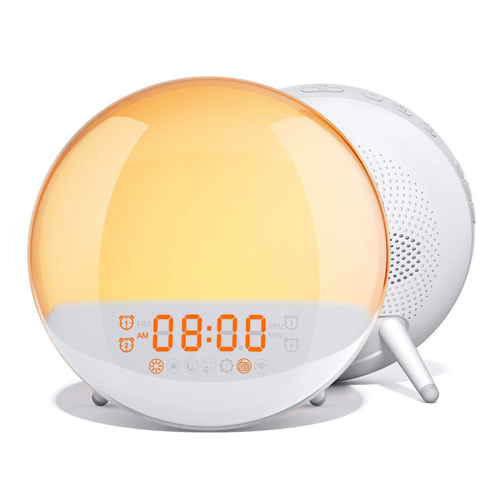 Alarm Clock Simulated Sunrise Sunset Natural Wake-up Sleep Music Colorful Led Night Light British regulatory