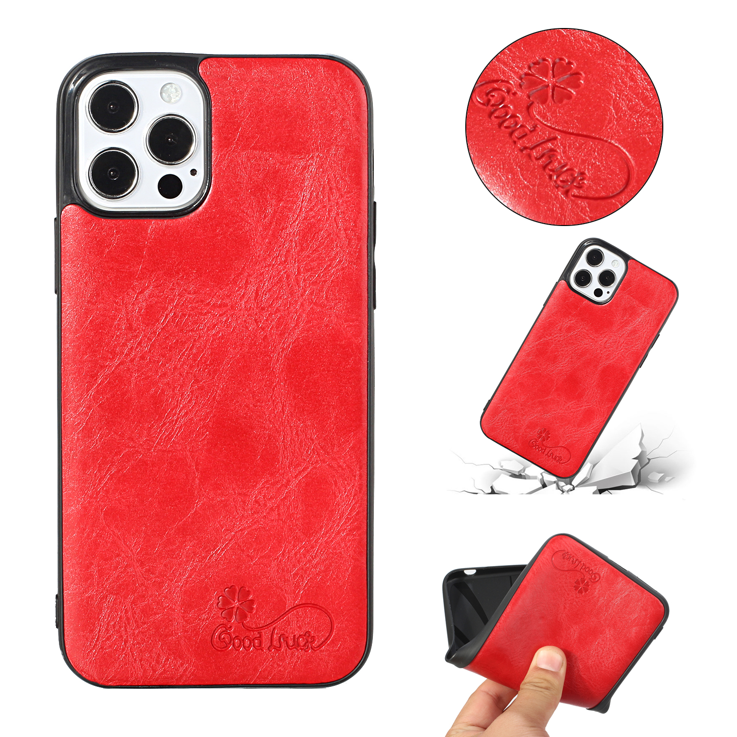 For Iphone 12 Pro Max Mobile Phone Cover Pu Waxed Leather Protective Soft Case red