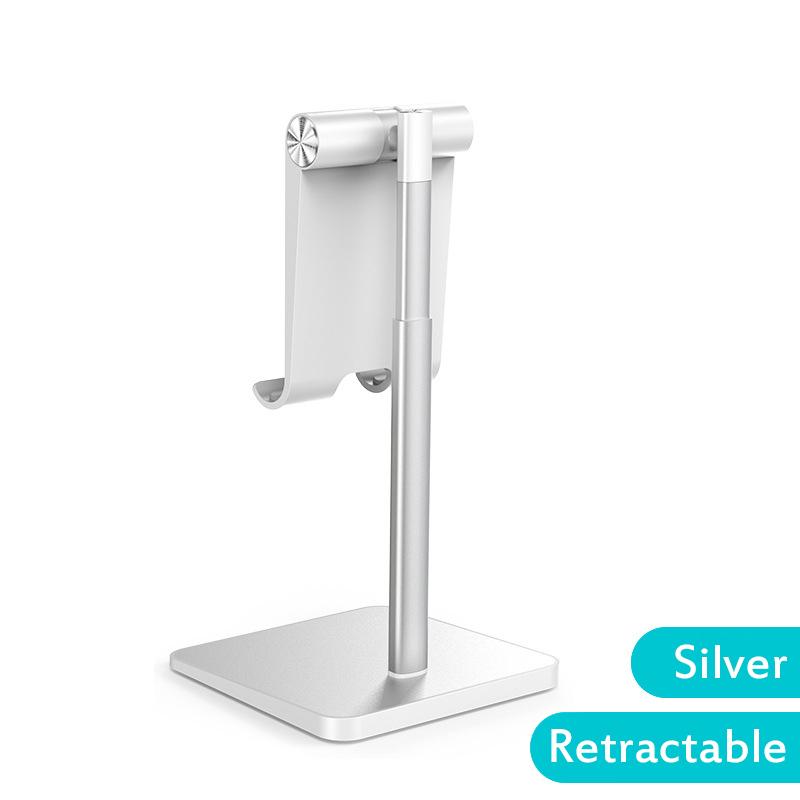 Telescopic Desk Mobile Phone Holder Stand for IPhone IPad Adjustable Metal Desktop Tablet Holder Silver-retractable version