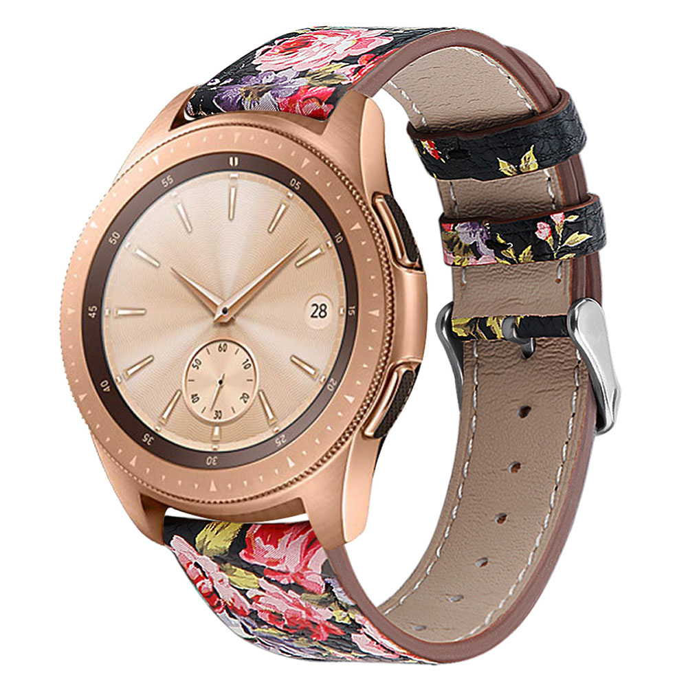 Smart Watch Leather Watch Strap Double Color Round Tail for Samsung Galaxy (42mm) SM-R810 Black leather flower