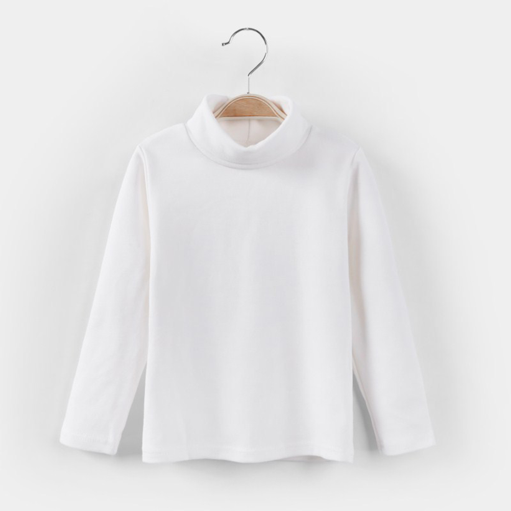 Girls Cute Long-sleeved Cotton Solid Color Half-high Collar Bottoming Shirt Top White_140cm