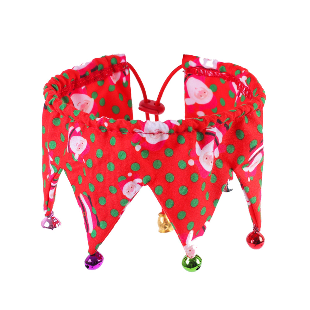 Dog Cat Neck Decoration with Bells Costume Festive Fun Colorful Clown Scarf for Pets Red Santa Claus_Collar 20-45cm