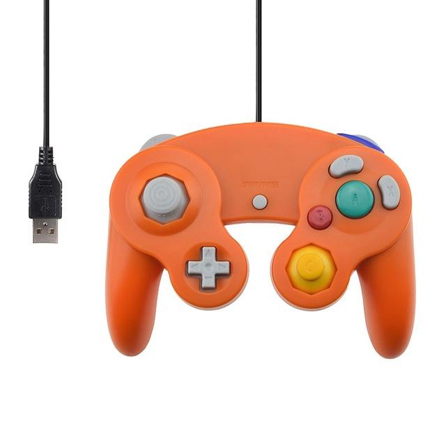 For Gamecube PC USB Wired Controller Joypad Joystick for Nintend Gamepads NGC GC MAC Computer Gamepad  Orange