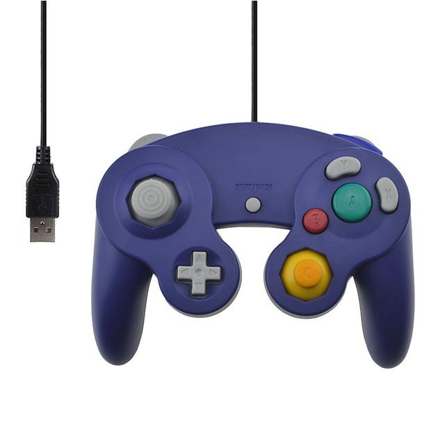 For Gamecube PC USB Wired Controller Joypad Joystick for Nintend Gamepads NGC GC MAC Computer Gamepad  purple