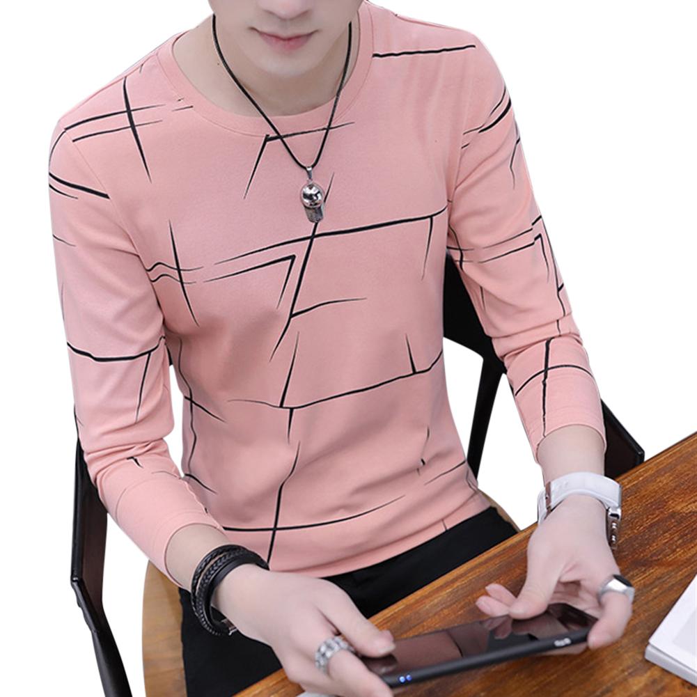 Men Fashion Long Sleeve T-shirt Printing Round Collar Slim Fit Casual Bottom Shirt  pink_L