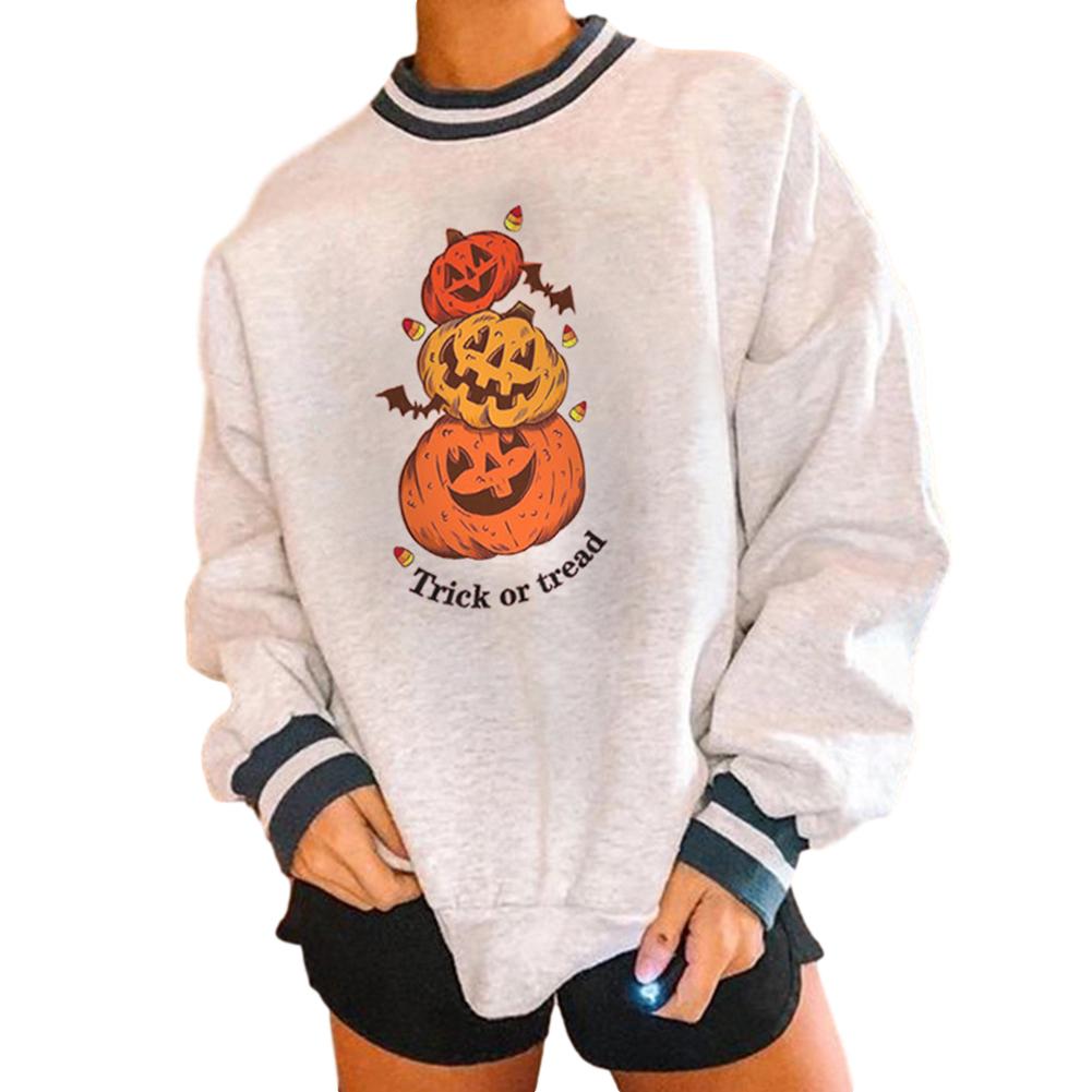 Women's Sweatshirts Autumn Casual Printing Pullover Sweatshirt 3 pumpkins_S